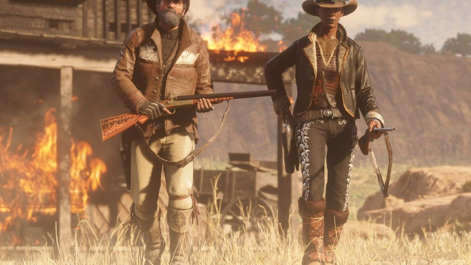 picture showing two cowboys with guns