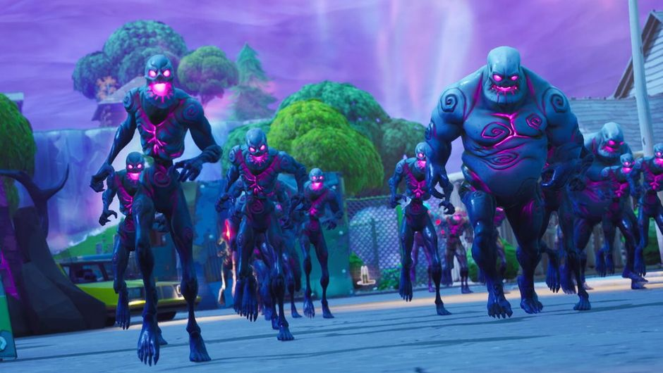 fortnite screenshot showing several creatures with glowing eyes