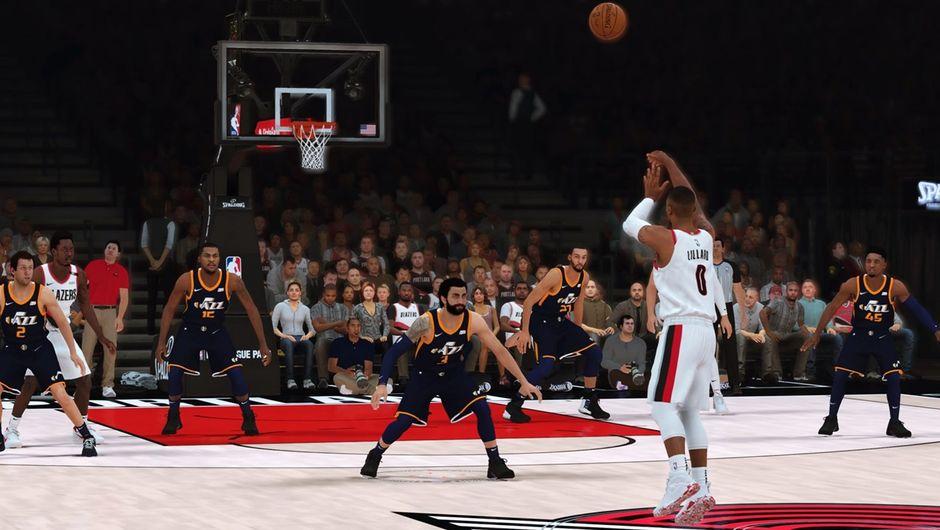 Damian Lillard of the Portland Trail Blazers shooting a half-court shot in NBA 2K19.