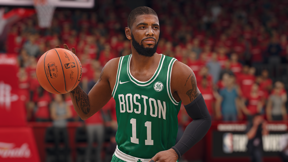 Kyrie Irving wearing his Boston Celtics jersey.