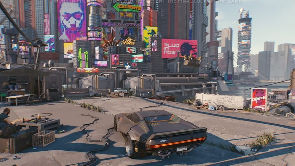 Cyberpunk 2077 screenshot showing a city and a car