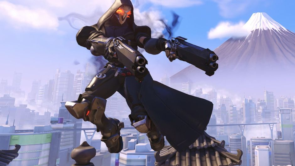 Reaper is dashing through the air attacking someone or something that's not on the screen
