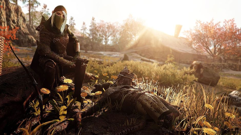 Waystalker woman sitting on a rock