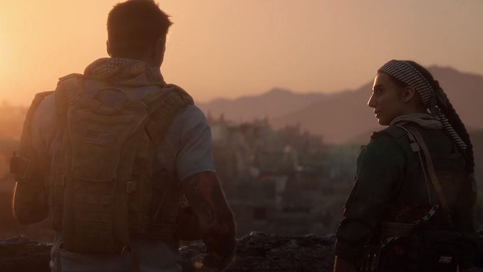 call of duty modern warfare screenshot showing two characters