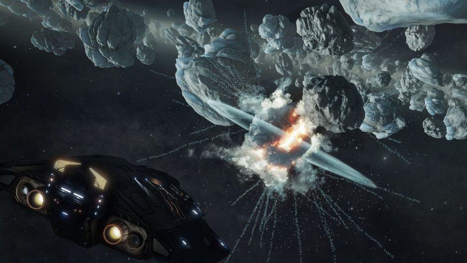 Picture of a ship in space mining an asteroid in Elite Dangerous