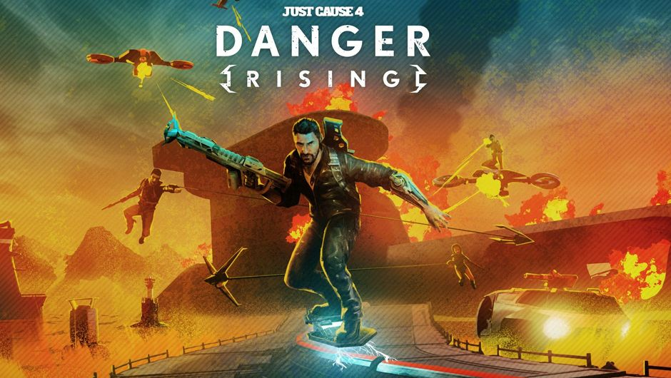 Just Cause 4 - Danger Rising artwork showing rico on a hoverboard