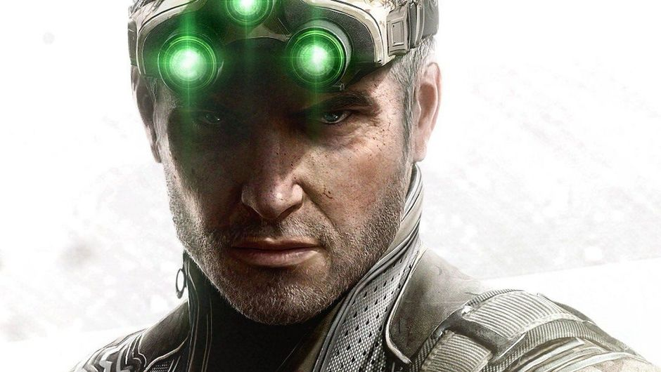 Sam Fisher is looking at the camera with his signature night vision goggles on his forehead