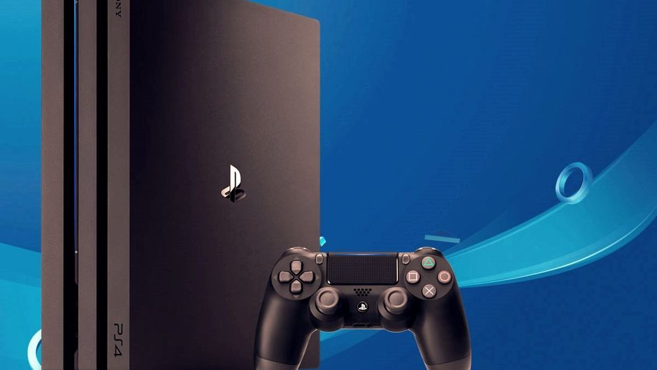 Picture of a PlayStation 4 pro with one gamepad next to it