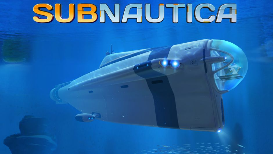 Banner picture for Subnautica showing a submarine in a vast blue ocean