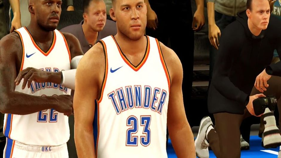 Blake Griffin wearing an Oklahoma City Thunder jersey in NBA 2K Mobile Basketball.