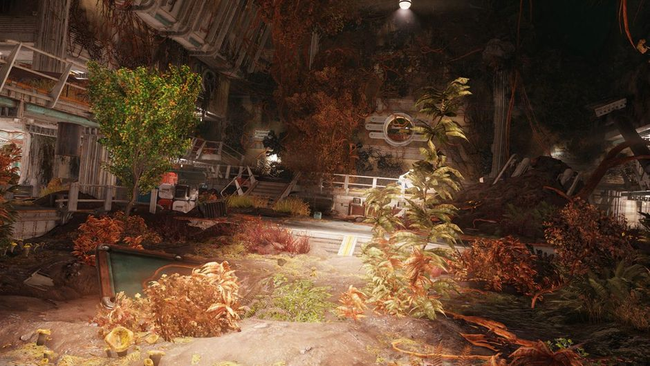 fallout 76 screenshot showing overgrown vault