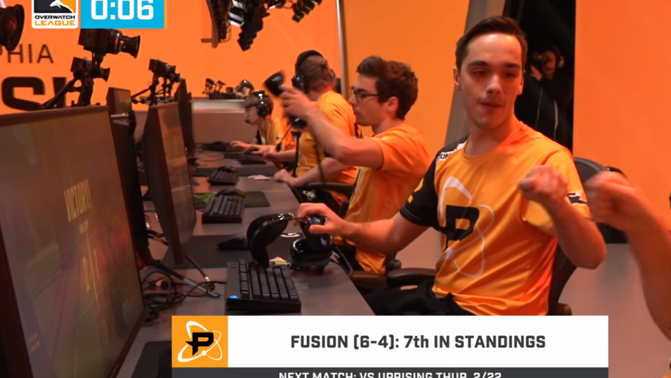 Fusion team members celebrating a win