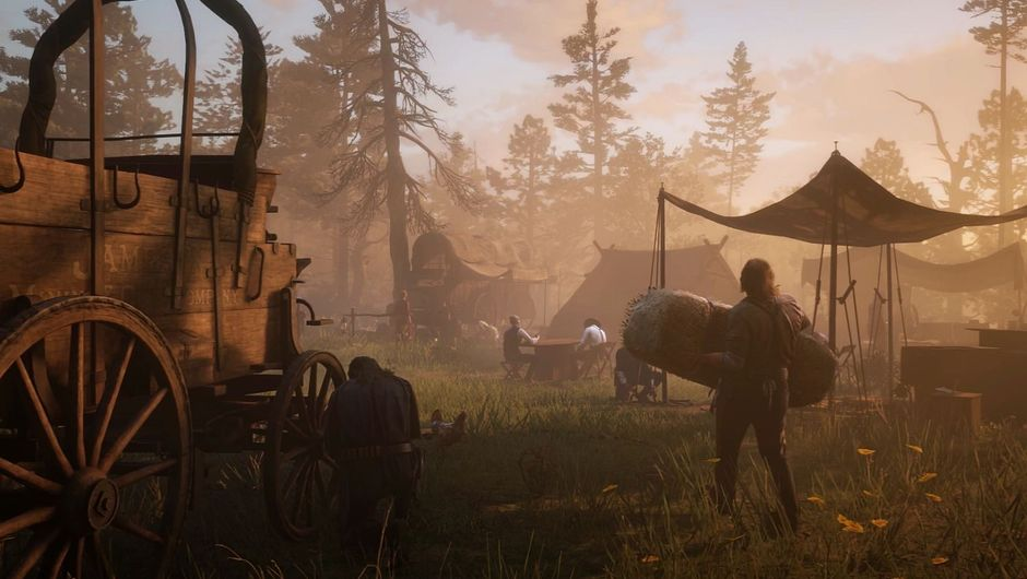 RDR2 camp of outlows setting up after a move in the mist with a broken wagon