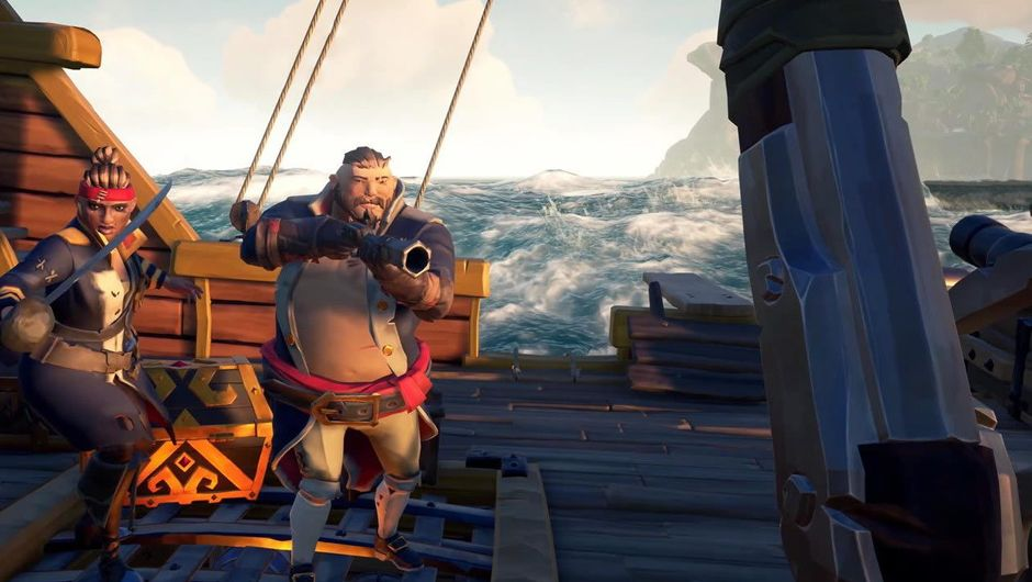 Two animated characters on a ship, aiming their guns at the camera