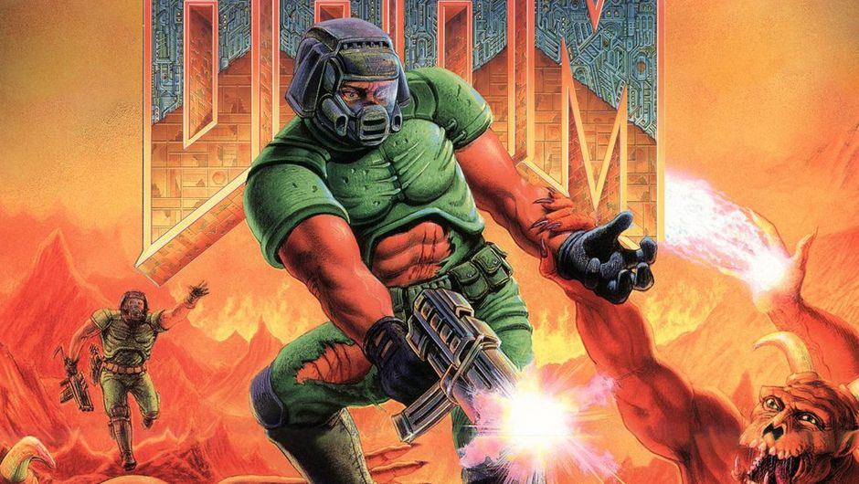 artwork showing doomguy from doom, shooting at demons