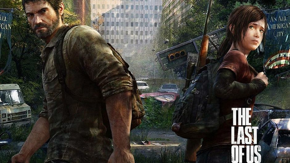 The Last of Us wallpaper showing Joel and Ellie in a ruined city