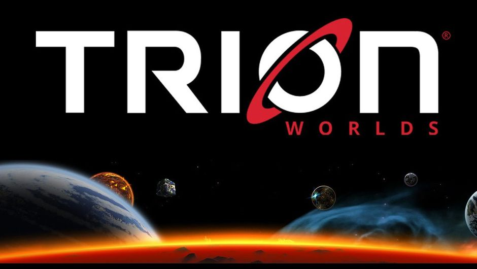 Picture of a Trion Worlds logo with some planets in space