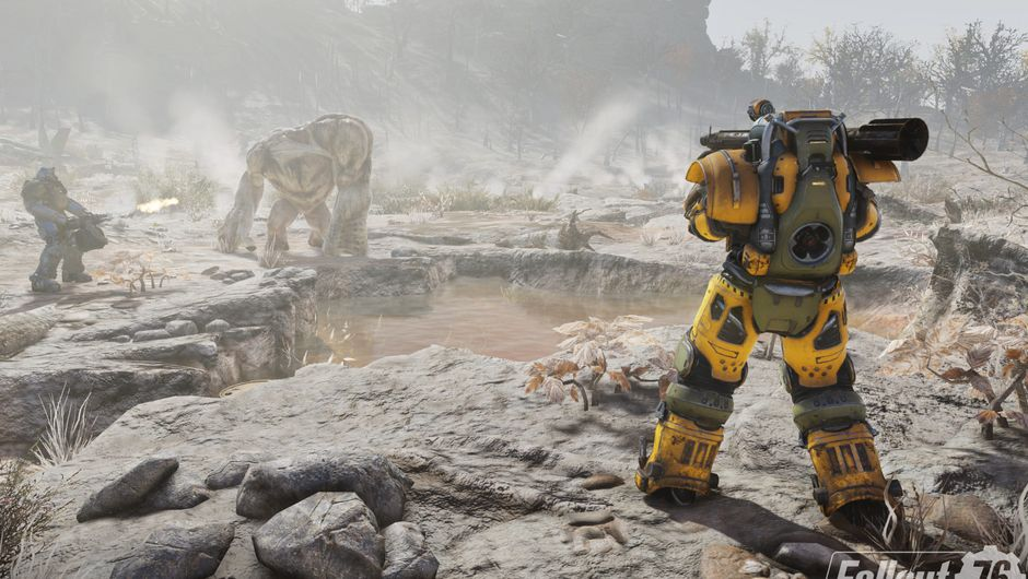 Picture of some players fighting a Grafton Monster in Fallout 76