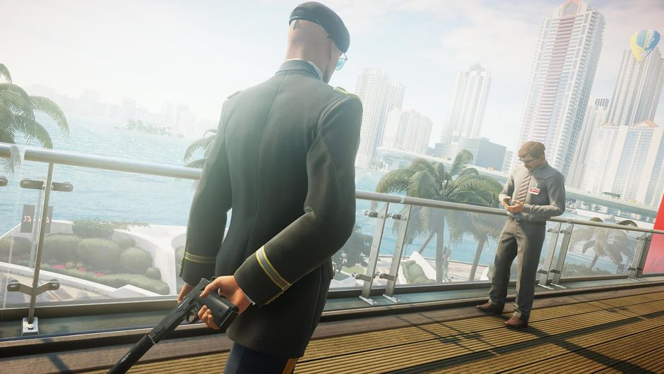 Agent 47 in green military clothes from the game Hitman 2
