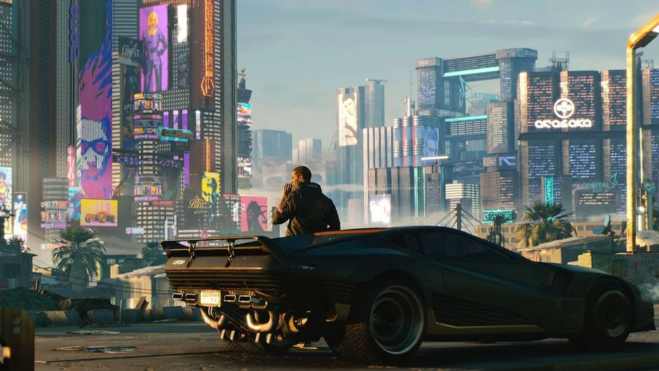 Cyberpunk 2077 character leaning on future care looking on sci-fi city