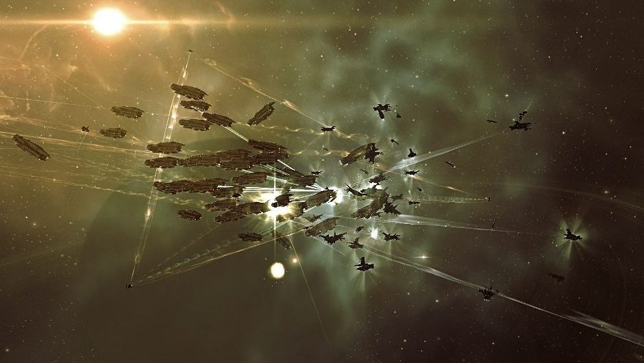 Picture of many ships battling it out in EVE Online