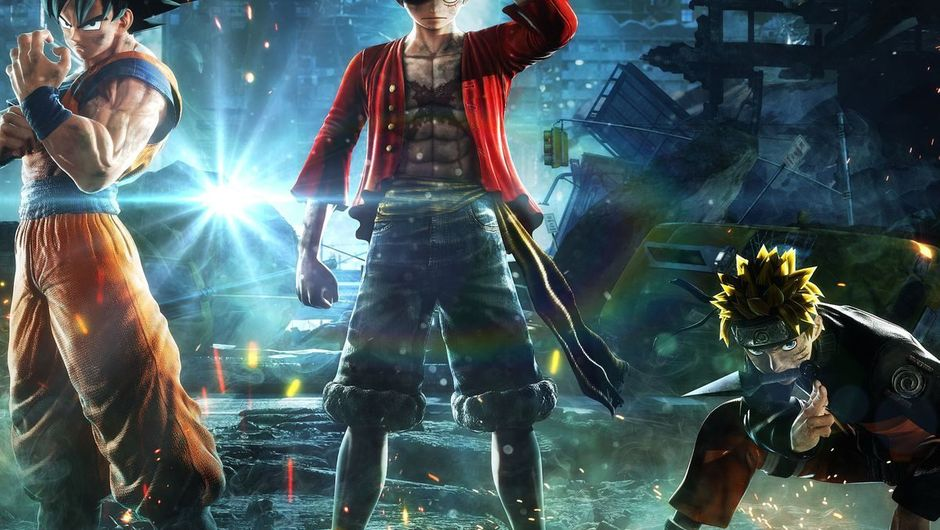 Picture of three dudes from anime posing for Jump Force promotional image