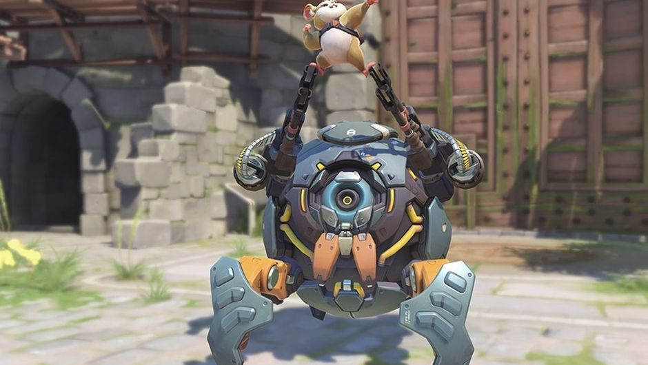 Overwatch's hamster Hammond is resting on top of his ball