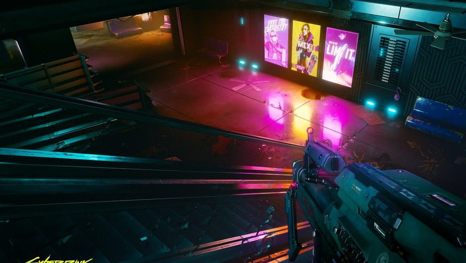 Cyberpunk 2077 screenshot showing a vending machines in subway
