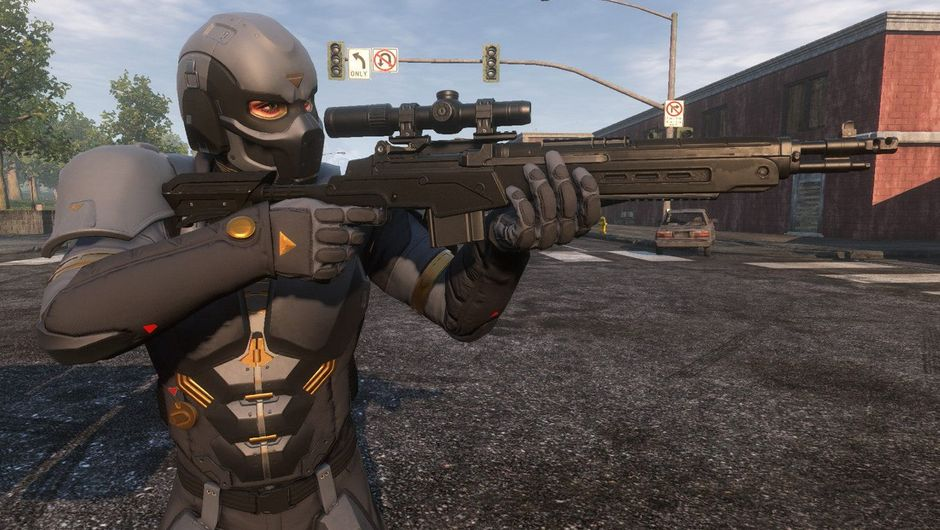 Picture of a dude in a gimp suit aiming a sniper rifle in H1Z1