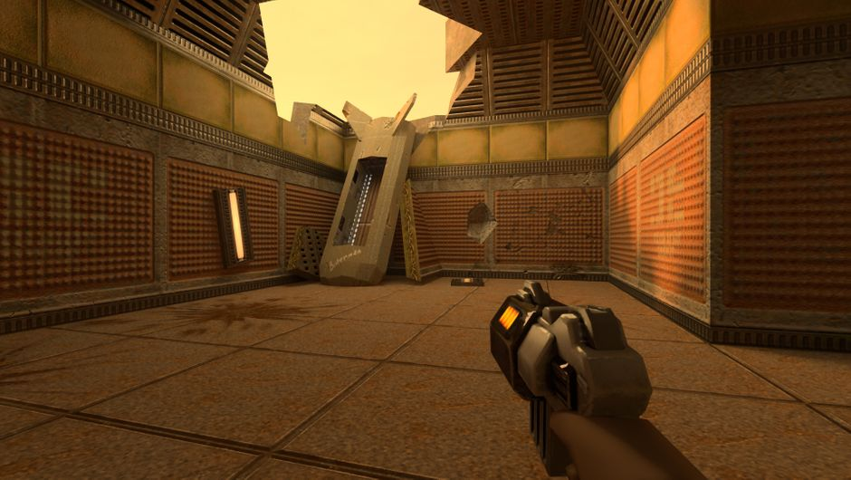 Quake 2 level rendered in Nvidia's RTX