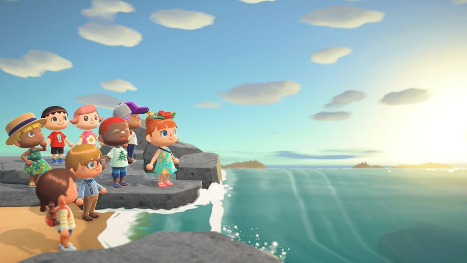 Several multiplayer characters gathered together on the beach in Animal Crossing: New Horizons