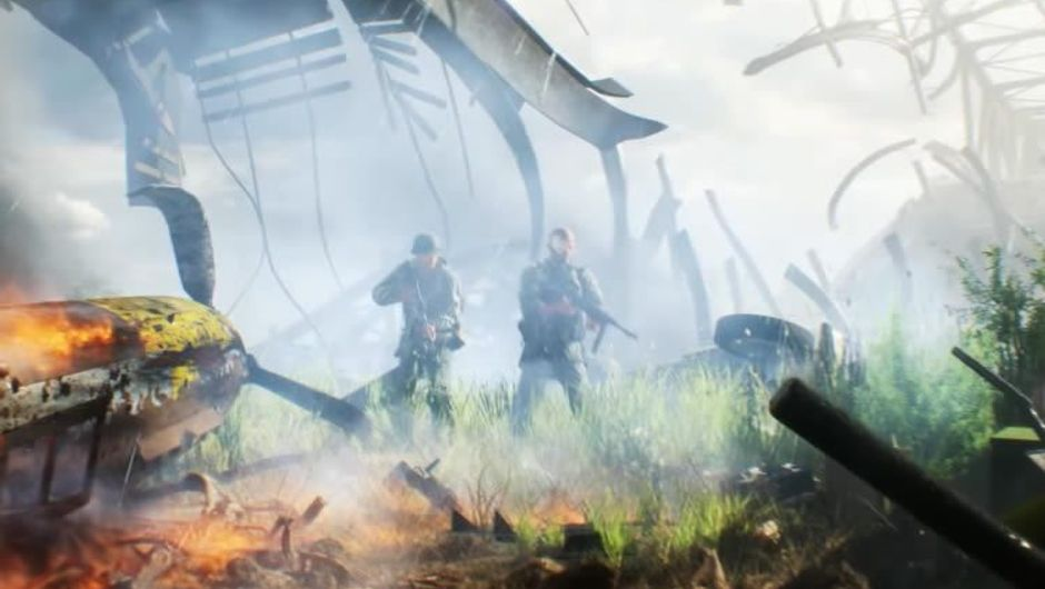 Two soldiers on an explosion site in EA's game Battlefield V