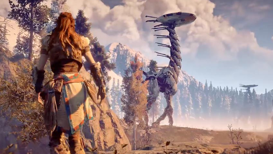 Horizon Zero Dawn's Aloy walking towards a big mechanic dinosaur
