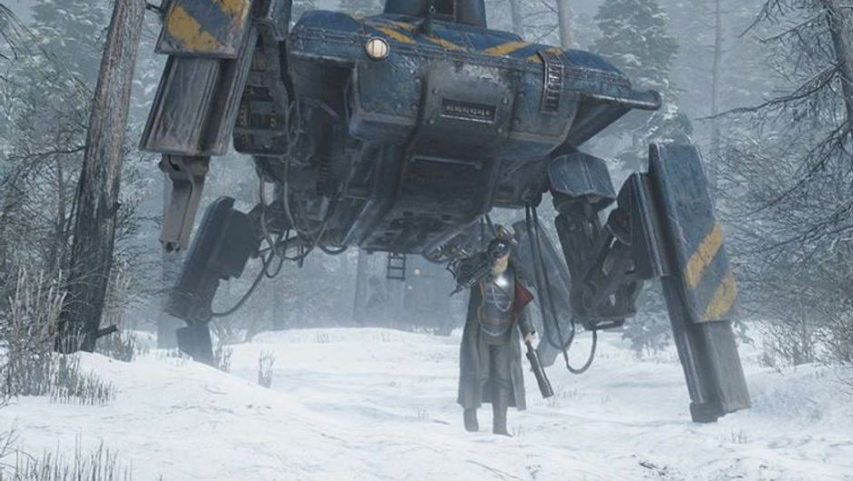 Iron Harvest art-work showing commander with walker tank in background in the woods