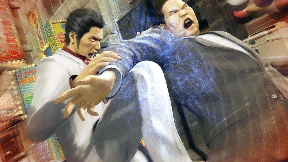 Yakuza Kiwami protagonist breaking a man's arm