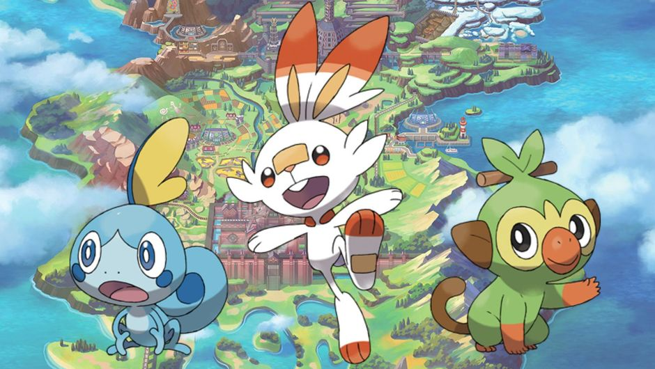 Picture of the three starting Pokemon from Pokemon Sword and Pokemon Shield