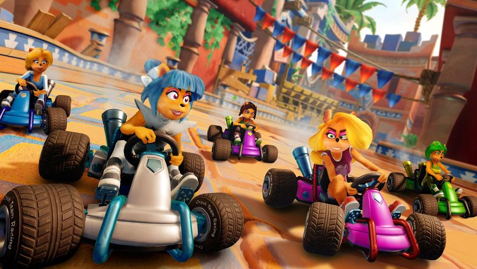 Crash Team Racing: Nitro-Fueled screenshot showing several female characters racing