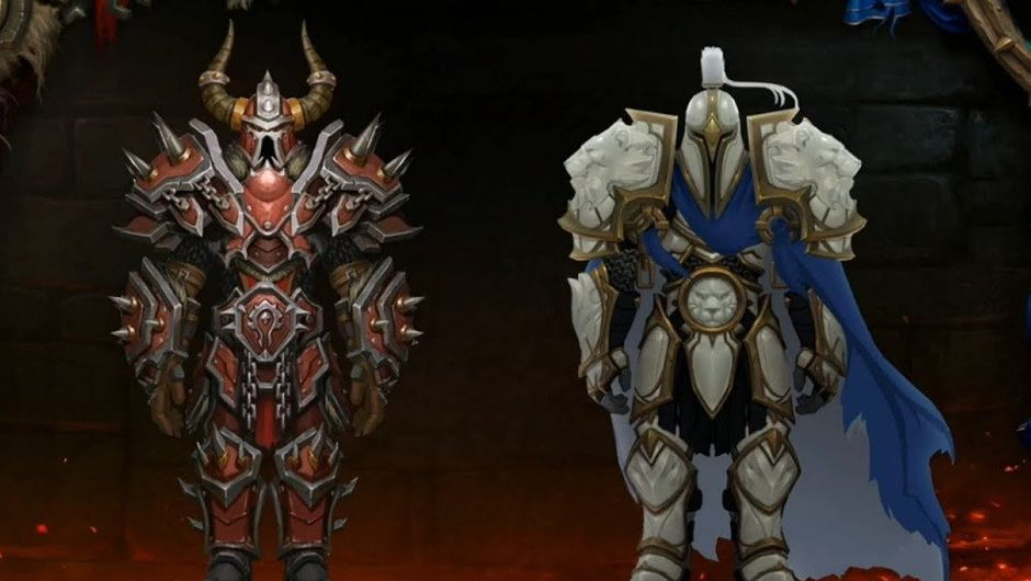 Horde and Alliance versions of the Warfront Tier 3 plate armour sets