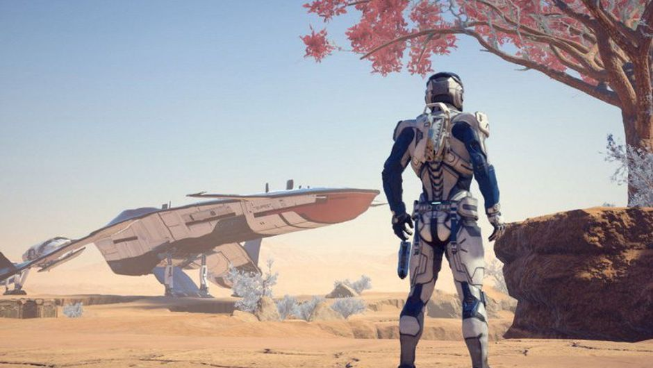 picture showing charachter in futuristic suit standing in the desert