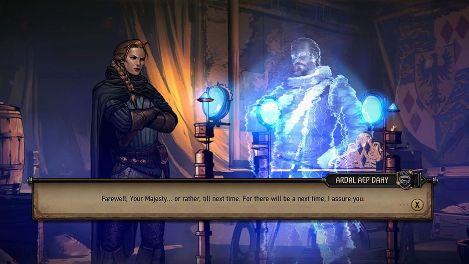 Meve, protagonist of Thronebreaker: The Witcher Tales talking to an apparition