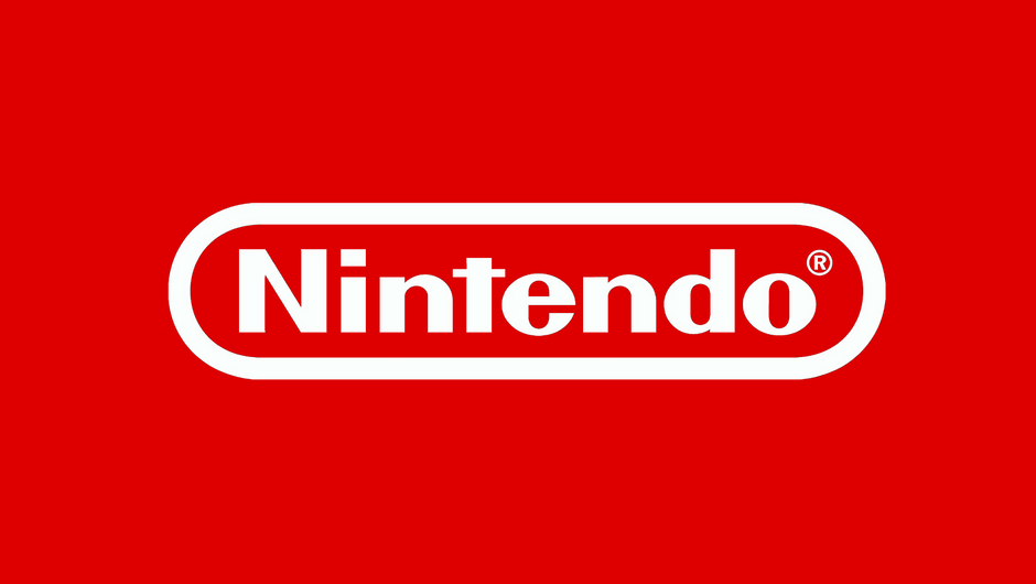 Picture of a Nintendo logo in white letters on a red background
