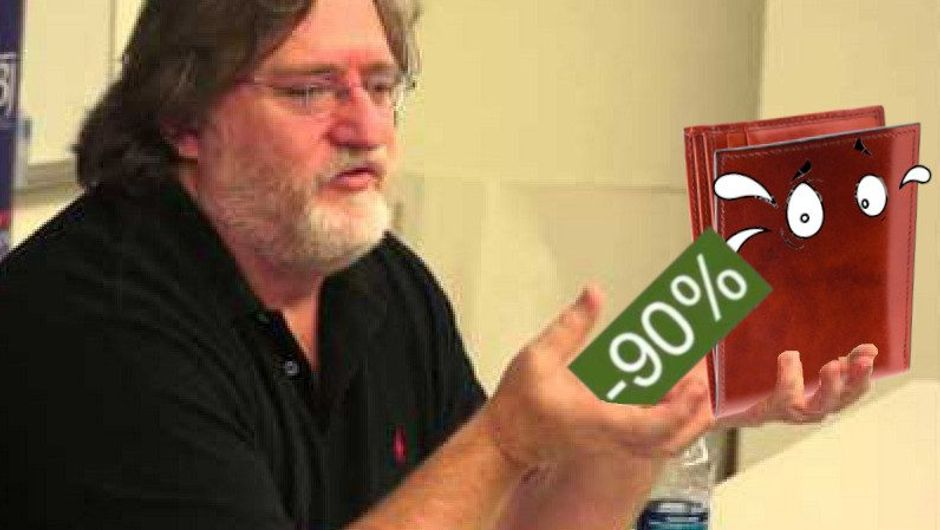 Spoofed image of Gabe Newell with a discount icon and a scared wallet