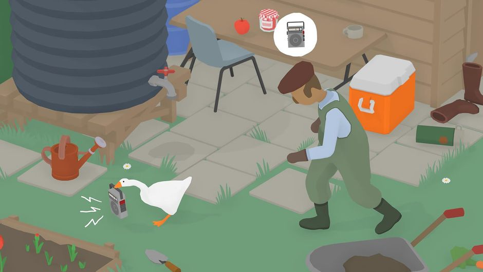 Goose running from a peasant in Untitled Goose Game