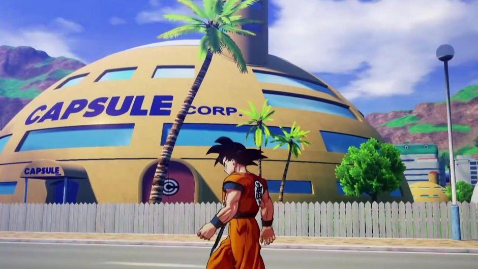 Goku walking by Bulma's Capsule Corp. in Dragon Ball Z: Kakarot.