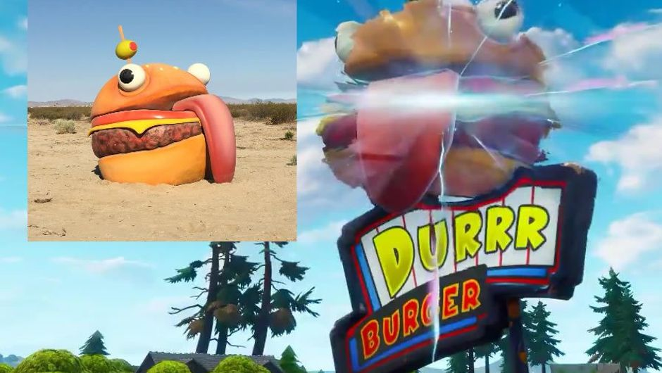Montage showing Fortnite's Durrr Burger in game and real life