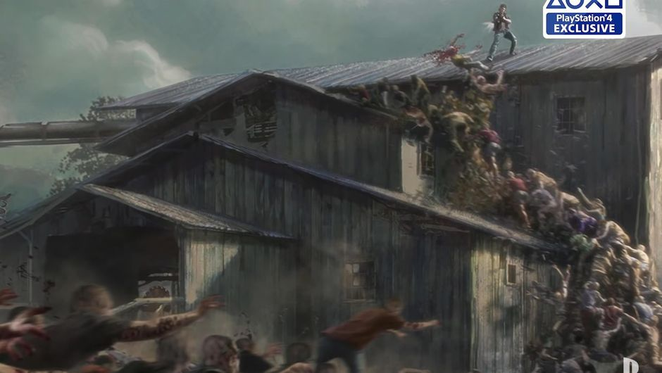 A man on a sawmill, shooting at an endless line of zombies