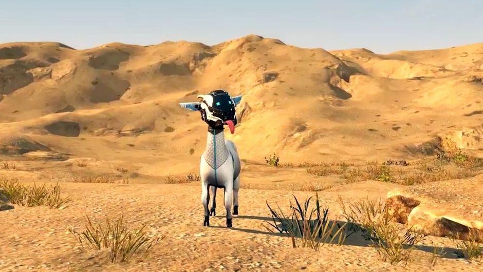 A goat standing in a desert in Goat Simulator