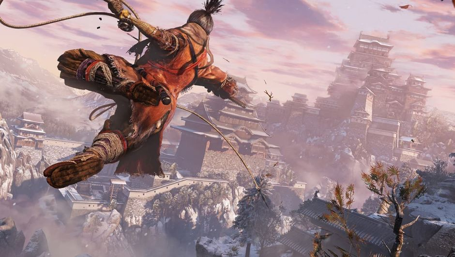 Sekiro thinks he's Batman as he's grappling around feudal Japan