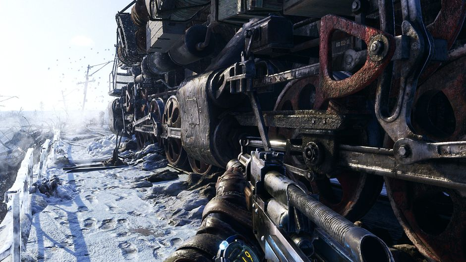 Picture of Artyom wandering around a train in Metro Exodus