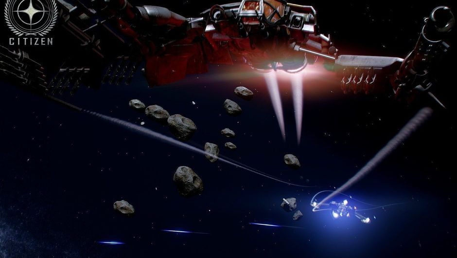 Space ship is flying in space in Star Citizen with some rocks around it